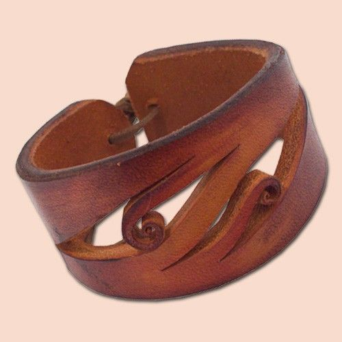 Handmade Leather Bracelet 4042 orange-brown