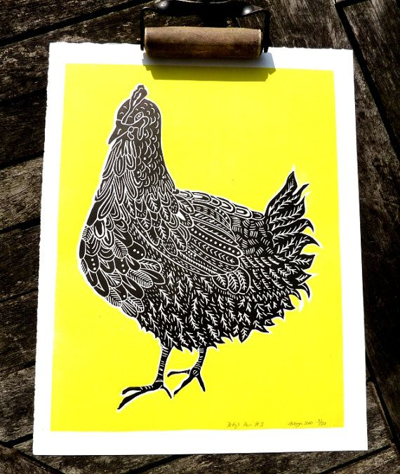 ORIGINAL lino print (Betty's Hen no.3)