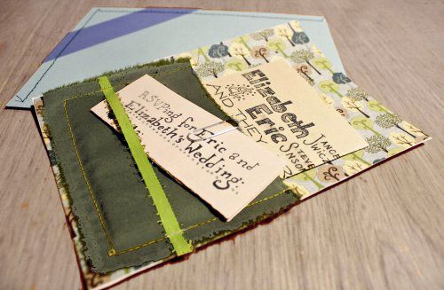 How to make wedding invitations with a sewing machine | Offbeat Bride...very interesting, so many possibilities. Also could be used as something else later by the recipients...