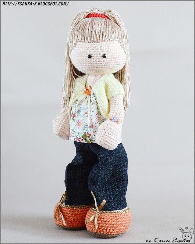 Вязаные игрушки Зайкиной Ксюшки: Вязаная куколка Алинка. Crochet Doll Alina.