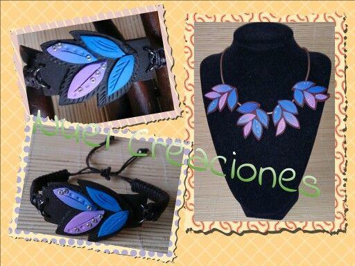 Gargantilla y pulsera hechas de #fimo con motivos florales