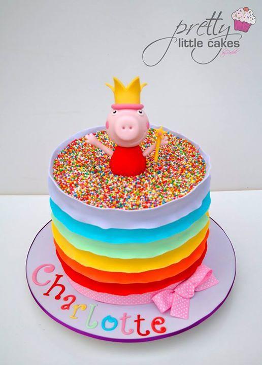 Rainbow Peppa Pig cake