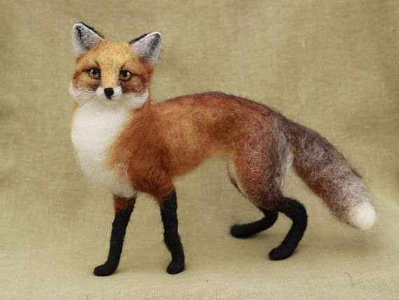 Needle felted red fox Made to order poseable felted by Ainigmati