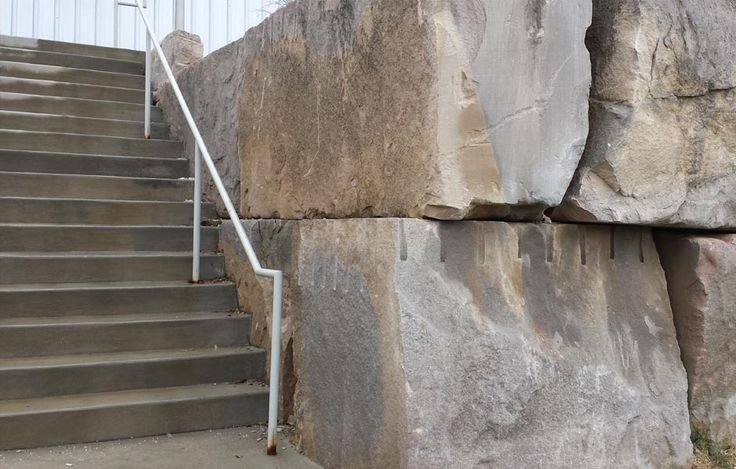 Stair photograph of the Bloomington United Gymnastics and Soccer facility located in Bloomington, Indiana.  The retaining wall was created using existing limestone quarry blocks in the surrounding area.