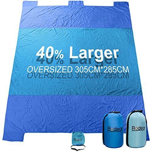 Beach Blanket, Oversized 10'x8' Sand Proof Beach Picnic Blanket Made of 100% Parachute Nylon Anchored with XL Sand Bags - Sapphire Blue. For product & price info go to:  https://all4hiking.com/products/beach-blanket-oversized-10x8-sand-proof-beach-picnic-blanket-made-of-100-parachute-nylon-anchored-with-xl-sand-bags-sapphire-blue/