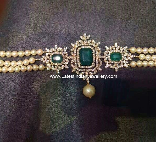 Pearls Diamond Choker Bajubandh