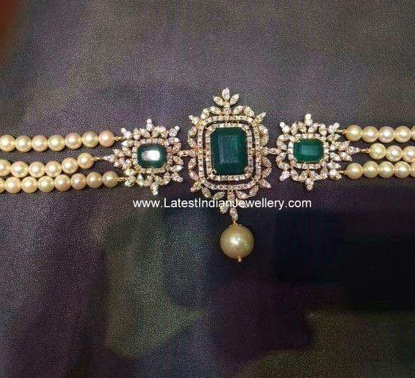 Pearls Diamond Choker Bajubandh | Latest Indian Jewellery Designs