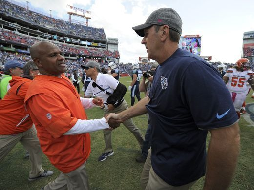 Browns vs. Titans:      October 16, 2016  -  28-26, Titans  -       Titans head coach Mike Mularkey shakes hands with Browns head coach Hue Jackson after the Titans' 28-26 win at Nissan Stadium Sunday, Oct. 16, 2016, in Nashville, Tenn.  George Walker IV / The Tennessean