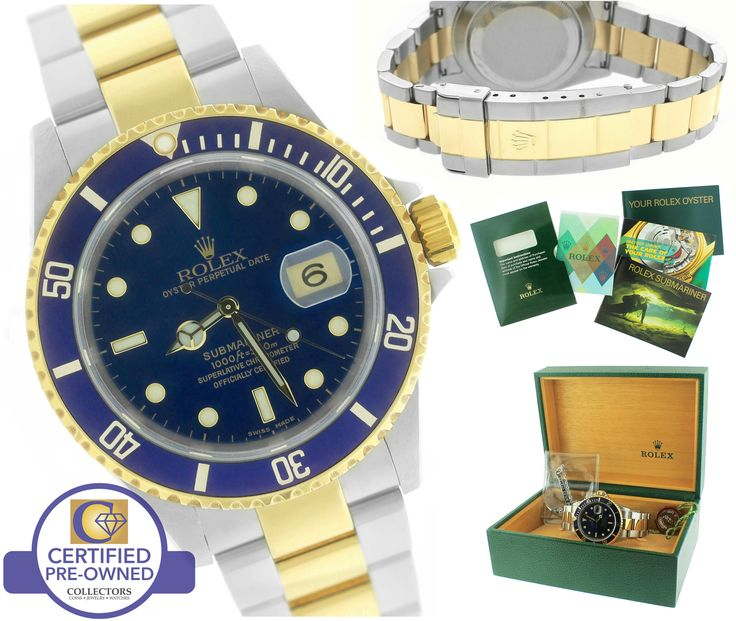 2004 Rolex Submariner 16613 Two-Tone Stainless Blue Date Dive 40mm Watch SEL