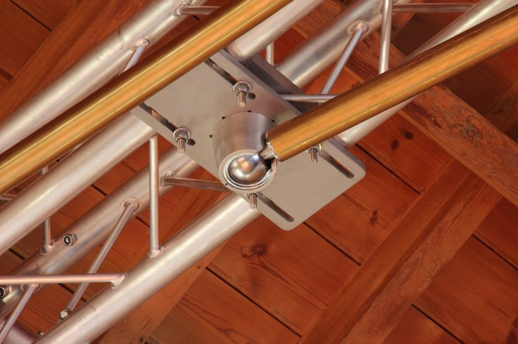 """The XPert pole held securely within our vaulted ball mount ceiling/truss plate. The ball mount is superb at distributing torque/flex encountered with longer length poles.The vaulted mount allows the pole to be swung up to ceiling height to be held by our patented """"receiving unit"""".  https://www.youtube.com/watch?v=HPSZhRsHMao&list=UUoo9Z0IxkkooTT1yQK634Sg"""