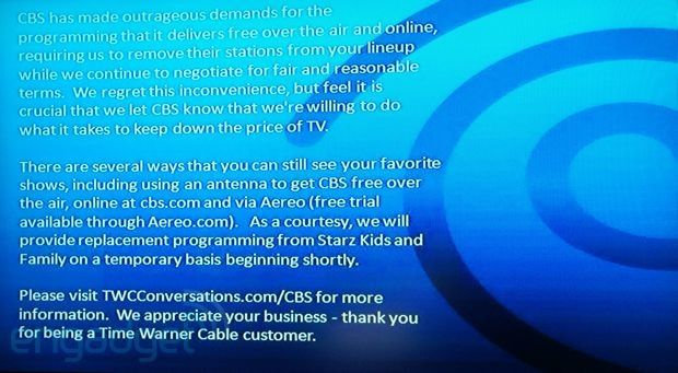 CBS and Time Warner Cable to end blackout, programming to resume at 6PM ET today - http://salefire.net/2013/cbs-and-time-warner-cable-to-end-blackout-programming-to-resume-at-6pm-et-today/
