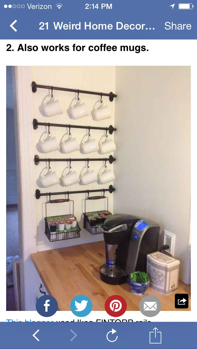 Curtain rods to hang up coffee mugs