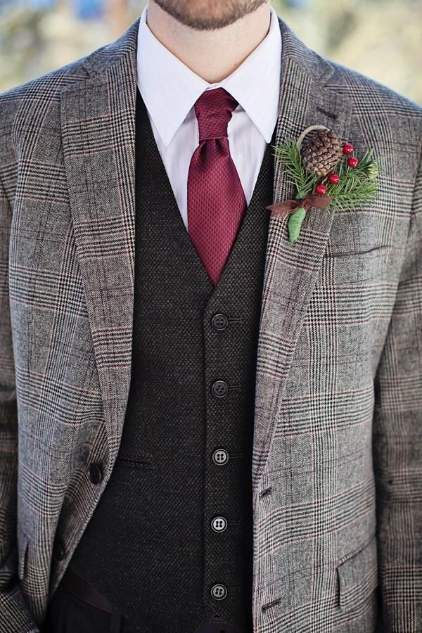 Winter Wedding Groom's Attire Ideas 16