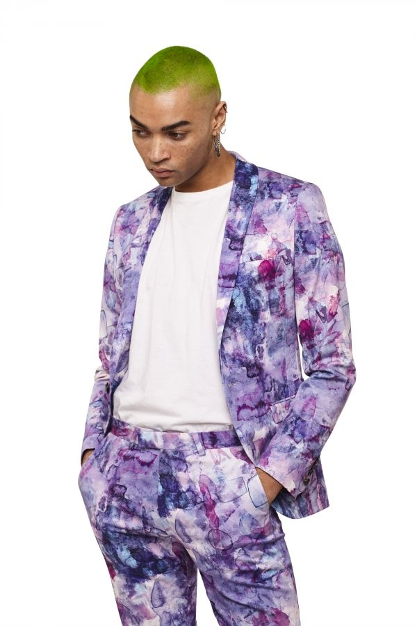 Luxor Lilac Watercolour Print Skinny Fit Suit Jacket