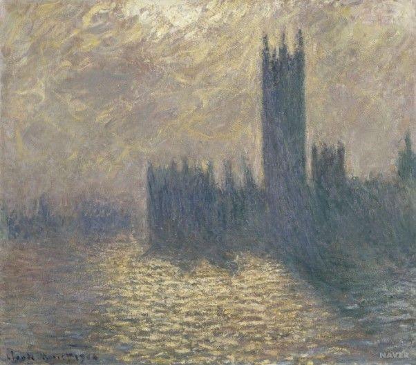 [프리즘의 발견] <천둥이 치는 날의 런던 국회의사당> - 클로드 모네: 모네는 런던의 상징인 국회의사당을 주제로 연작을 그렸는데, 이 작품이 바로 그 연작들 중 하나이다. 그림 속 구름이 잔뜩 낀 하늘은 요란한 천둥번개를 내리치는 듯한 음산한 분위기를 함축하고 있다. 모네는 이 작품 속에서 천둥번개가 치는 순간, 안개 낀 대기를 통해 나타나는 절묘한 빛의 현상을 거친 붓 터치로 생생하게 포착했다.