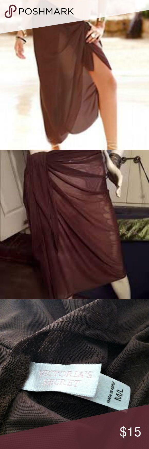 Victoria's Secret Sheer Brown Sarong wrap Pre-owned Victoria's Secret sh…