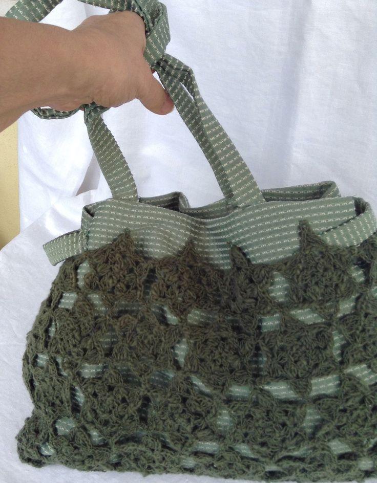 """Morbida borsa in pizzo verde all'uncinetto e tessuto con tracolla: """"Stellata di muschio"""" : Borse a tracolla di bags-dream-team"""