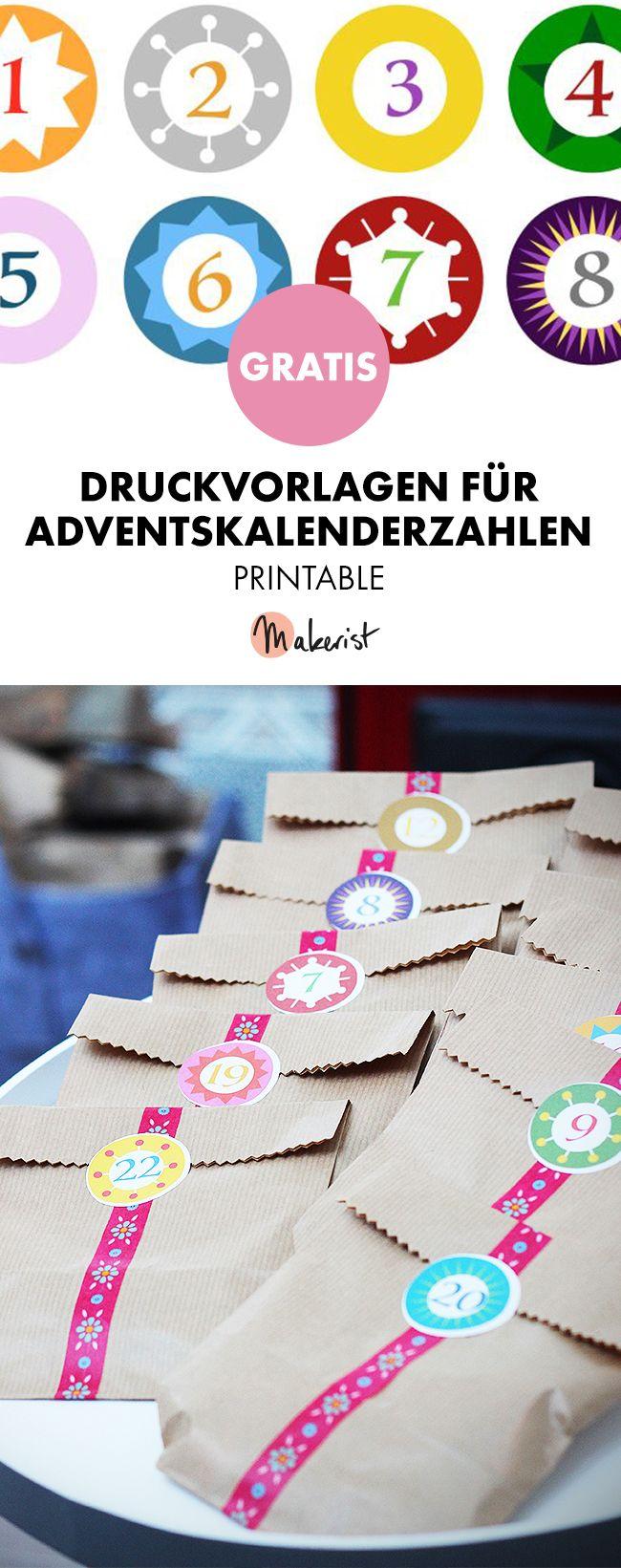 Adventskalenderzahlen zum selbst ausdrucken - Druckvorlage via Makerist.de