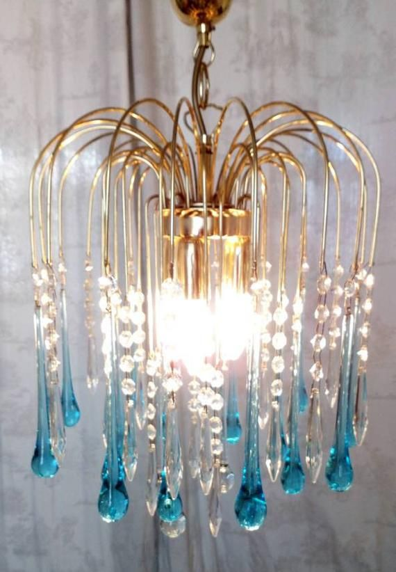 Vintage Pale Aqua  Crystal Chandelier featuring Murano Tulips and Florets