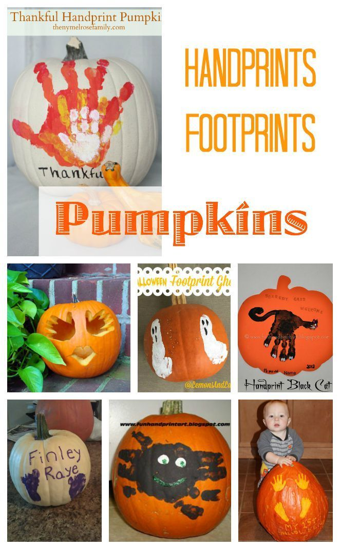 handprints and footprints onto halloween pumpkins a very special way to decorate this fall