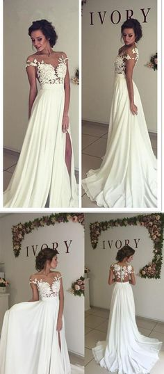 A Line See-through Bateau Beach Wedding Dress,Lace Appliqued Floor length Beach Ivory Wedding Dress,Off the Shoulder Party Prom Dresses