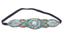 eski bohem etnik aşiret mavi tüp tohum boncuk yapımı elastik bandı saç bandı tasarım saç aksesuarları(China (Mainland))