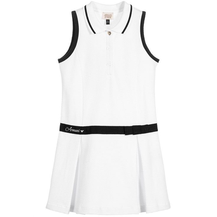 Girls sleeveless polo shirt dress by Armani Junior, made in soft cotton piqué. The dress is slightly shaped through the front and has a ribbed collar with front button fastening. The armholes are trimmed in black, and it has a black grosgrain ribbon around the dropped waist, decorated with a fixed bow and the designer's logo print. The skirt has two inverted pleats at the front, creating a slightly flared effect.