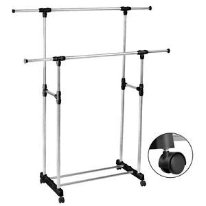 HEAVY DUTY-Double Adjustable Portable Clothes Rack Hanger Extendable Rolling  | eBay