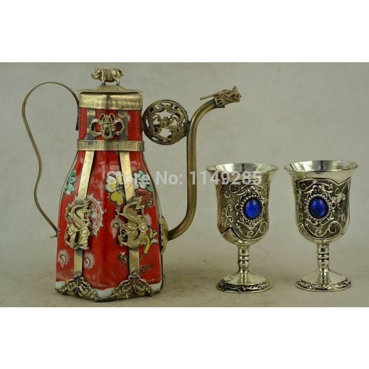 Star Dragon armor hand-decorated porcelain teapot & one pair Miao silver goblet