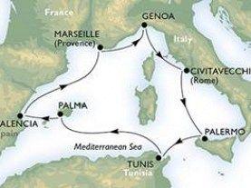Civitavecchia - Palermo - La Goulette - Palma de Mallorca - Valencia - Marsilia - Genoa - Civitavecchia