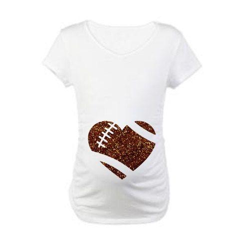 Football maternity shirt//pregnancy shirt// expecting shirts//preggo// baby shower gift//bump costume//glitter shirt// football heart