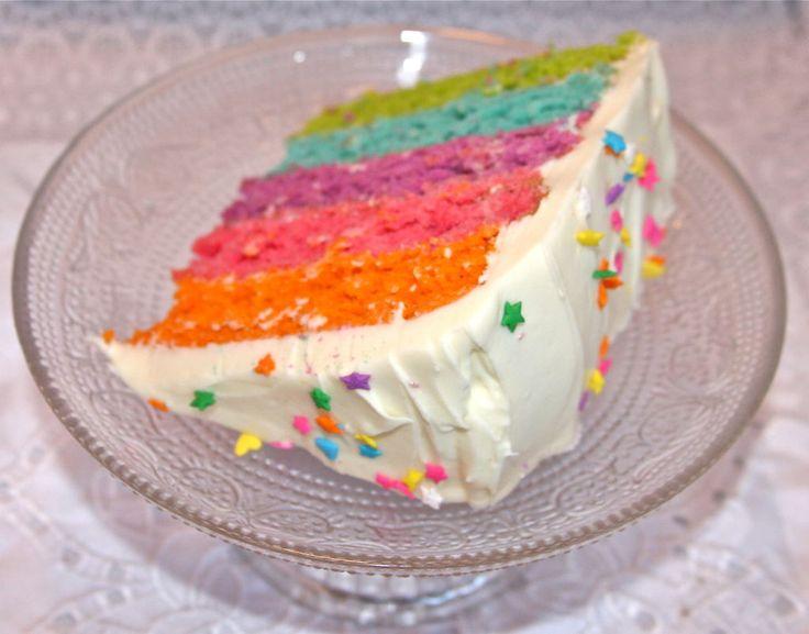 Regnbue kake oppskrift