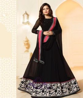 """Upto Size 42""""  Top:  Georgette Inner and Bottom: Dupion  Dupatta: Nazmeen  Semi-stitched Fancy Designer Suit Dress Material"""