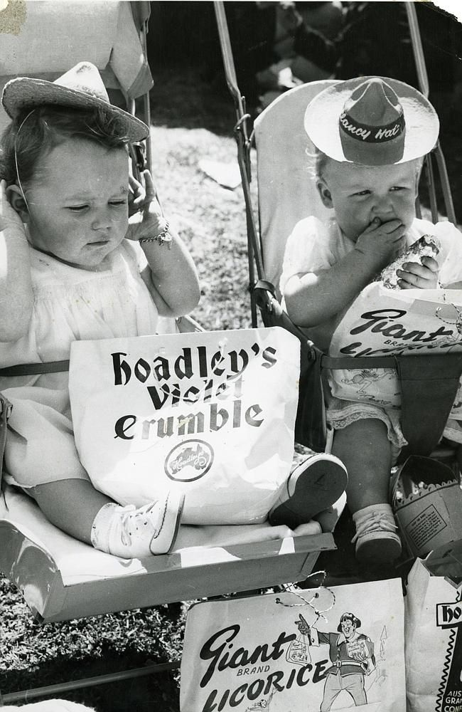 Two babies with showbags in an undated photo. Picture: RASV Heritage Collection.