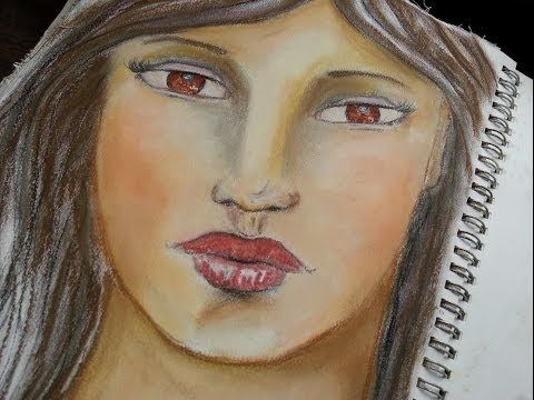 Art journaling page Whimsical Girl with HAZELNUT EYES painted in soft pastels in my art journal