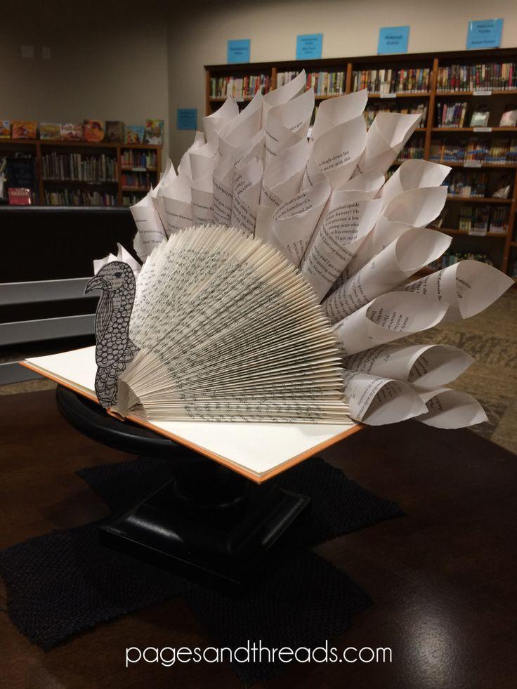 How to make a recycled book turkey for a library display or Thanksgiving centerpiece.