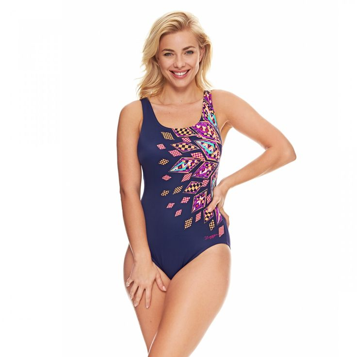 Zoggs Women's Modern Aztec Scoopback Swimming Costume - Sizes 8-22