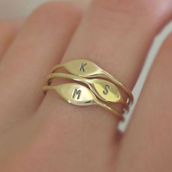 14k Gold Letter Stacking Ring Personalized with by esdesigns