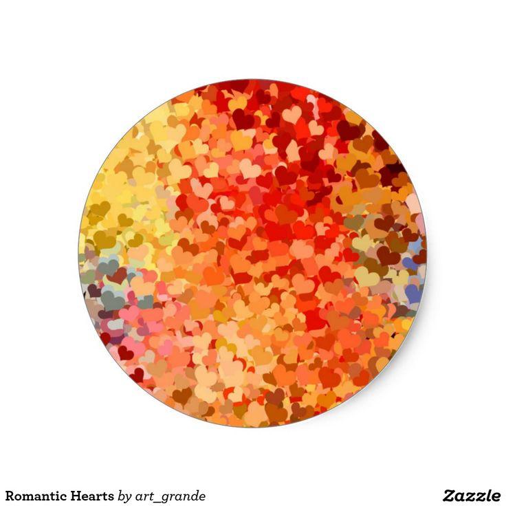 Romantic Hearts Classic Round Sticker