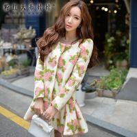 Rosa boneca 2016 inverno jacquard pêndulo casaco de lã casuais flores de weave mulheres baratos promoção preço C46IE