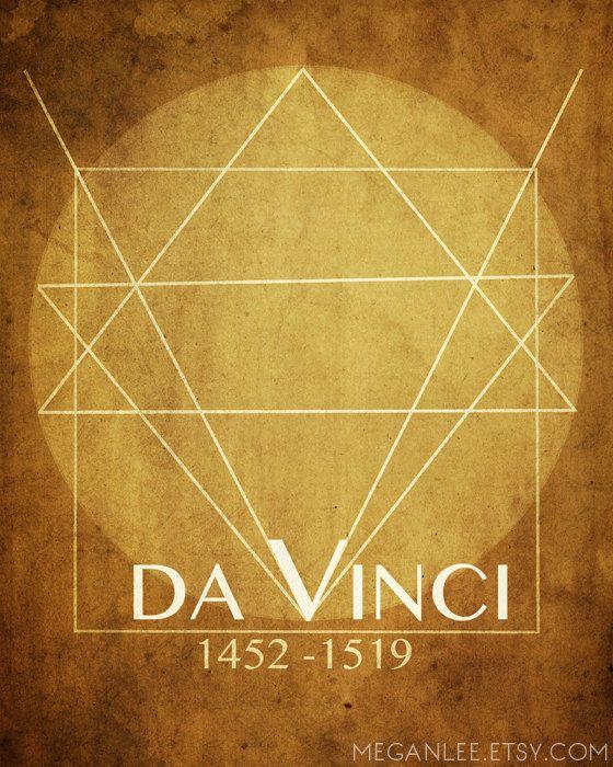 8x10 Leonardo Da Vinci  8x10 Artist Print Art Poster, Mathematical Geeky Art, Geek Chic, Nerd Decor, Italian Renaissance