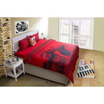 Shop for this contemporary red bed linen set & add vibrancy to your living!