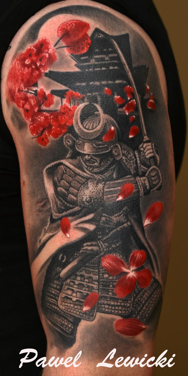 japanese samurai tattoo with cherry blossom petals. Black Bedroom Furniture Sets. Home Design Ideas