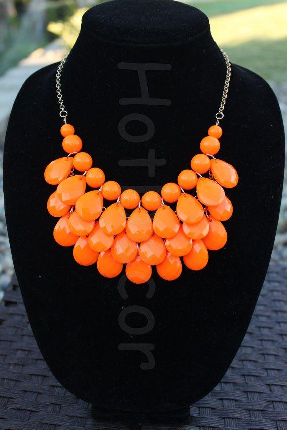 Orange chunky necklace Bubble Necklace Beaded Jewelry by HotDecor, $12.99