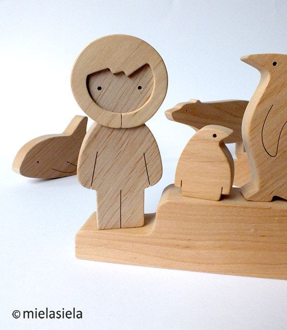 Wooden Toy Polar set Arctic animals Polar animals by mielasiela