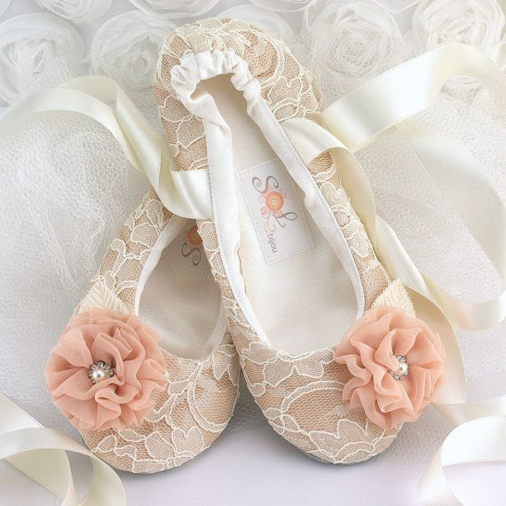 Lace Bridal Flats- Ballerina Slippers in Champagne, Ivory and Blush with Chiffon and Crystal Jewels on Etsy, $125.00