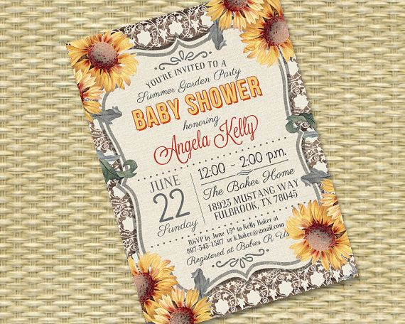 Rustic Wood Vintage Lace Sunflower - Baby Shower, Bridal Shower, Birthday Invitation - Any Event - Any Color Scheme - Kelly Style