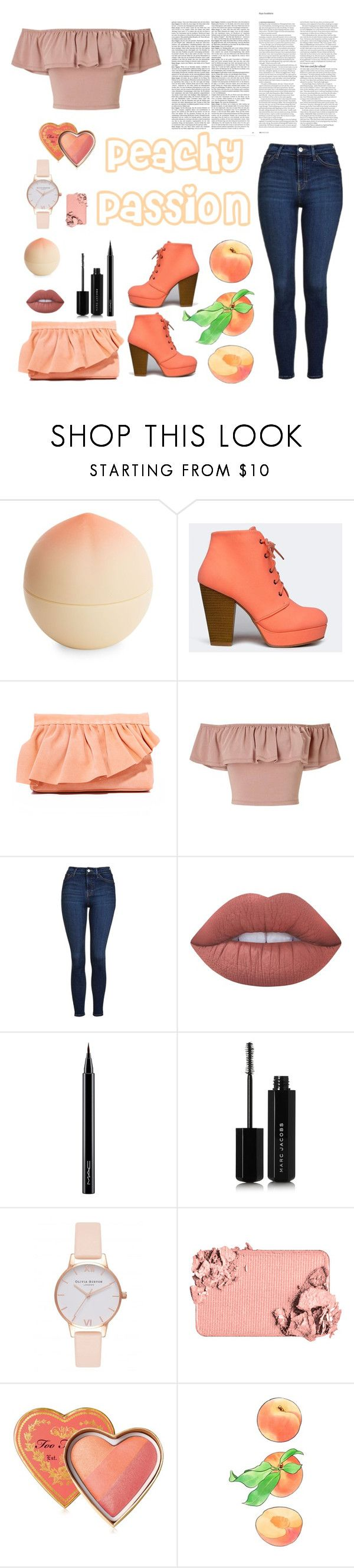 """Peachy Passion"" by lilypads-and-love ❤ liked on Polyvore featuring Tony Moly, Qupid, Marie Turnor, Miss Selfridge, Topshop, Lime Crime, MAC Cosmetics, Marc Jacobs, Olivia Burton and Too Faced Cosmetics"