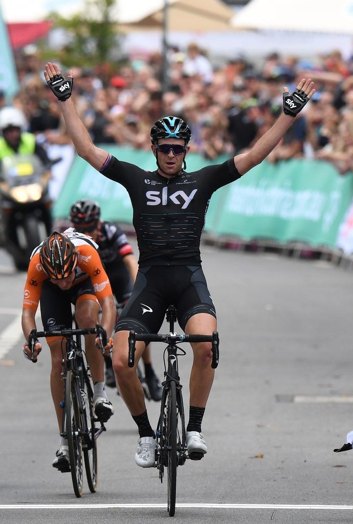 Britain's Ian Stannard of Team Sky celebrates stage four of the 2017 Herald Sun Tour cycling event in Melbourne on February 5, 2017.