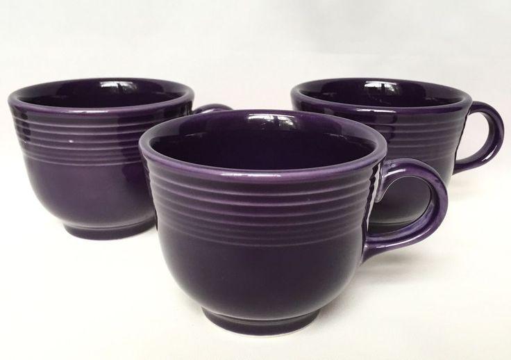 Fiesta Plum Coffee Cup Set of 3 Mug Homer Laughlin Fiestaware Purple Lavender #Fiesta